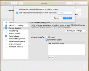 Sharing computer settings
